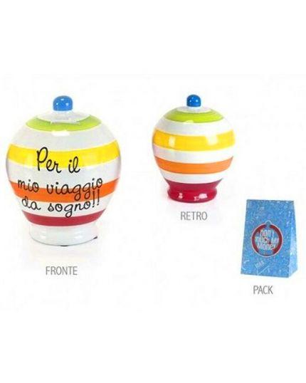 Salvadanaio Terracotta Righe Multicolor Per il Mio Viaggio da Sogno 20cm