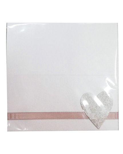 Segnaposto Matrimonio Carta Perlata Bianca con Cuore Decorato e Nastro Tortora 6pz