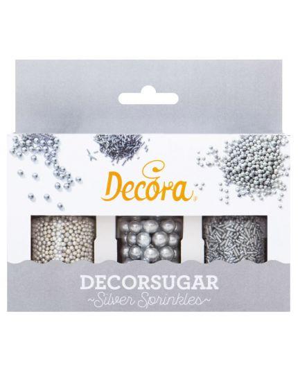 Set 3 Decorazioni Zucchero Argento Perline e Bastoncini Decora 85gr