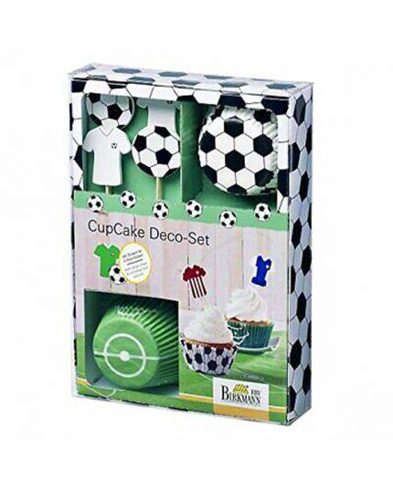 Set Decorazione Cupcake Calcio Pirottini, Pick e Stickers
