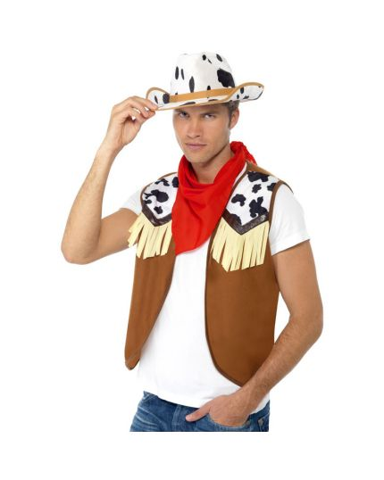 Set Wild West Cowgirl Uomo Cappello Gilet e Bandana