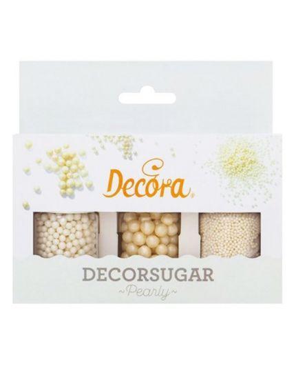 Set Perline Zucchero Bianche 3 Misure Decora