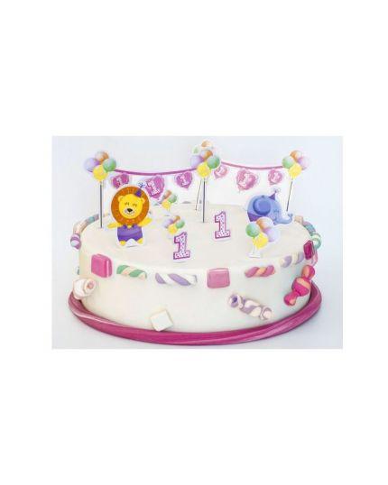 Set Sopratorta Pick Cartoncino 1 Compleanno Bambino o Bambina