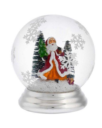 Sfera Vetro con Paesaggio Natalizio Babbo Natale e Abeti con Luci Micro LED Bagutta 12cm