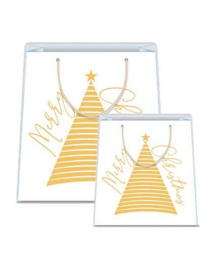 Busta Shopper Bianca in Carta Albero di Natale Oro - Varie Dimensioni