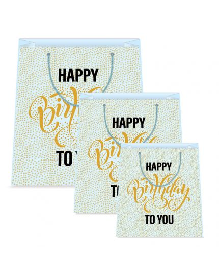 Busta Shopper Carta Happy Birthday Celeste Scritta Oro Varie Dimensioni