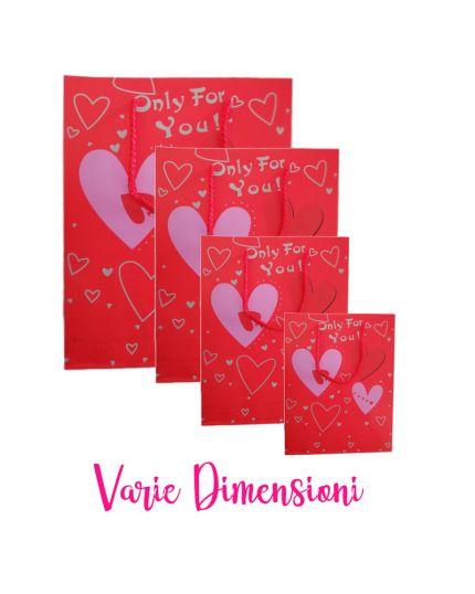 Shopper Carta San Valentino Cuori Rossi Varie Dimensioni
