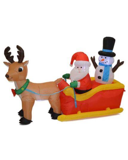 Babbo Natale su Slitta Gonfiabile 135cm