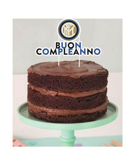 Sopratorta Cake Topper Carta Buon Compleanno Inter 20x18cm