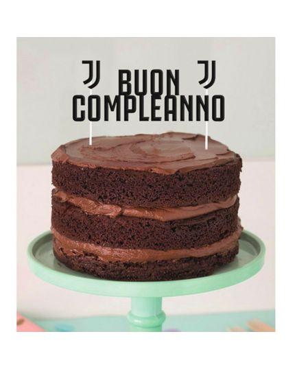 Sopratorta Cake Topper Carta Buon Compleanno Juventus 15x18cm