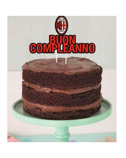 Sopratorta Cake Topper Carta Buon Compleanno Milan 19x18cm