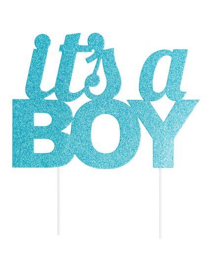 Sopratorta Pvc Celeste It's a Boy Glitterato