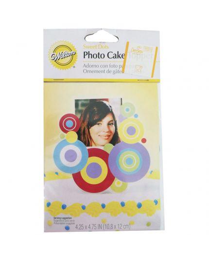 Sopratorta Cake Topper Pvc Portafoto Fantasia Circolare Multicolor 11cm
