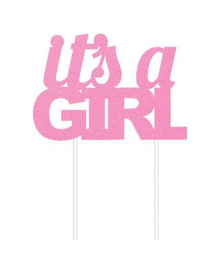 Sopratorta Pvc Rosa It's a Girl Glitterato
