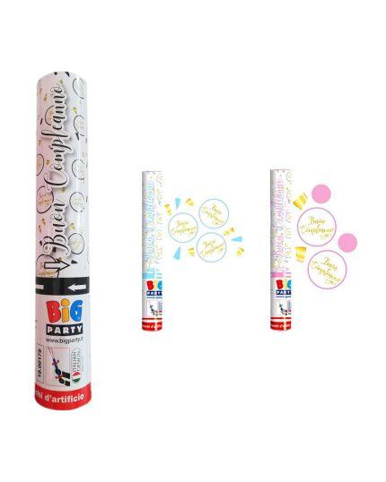 Tubo Sparacoriandoli Buon Compleanno Chic Colorato Metal 30cm