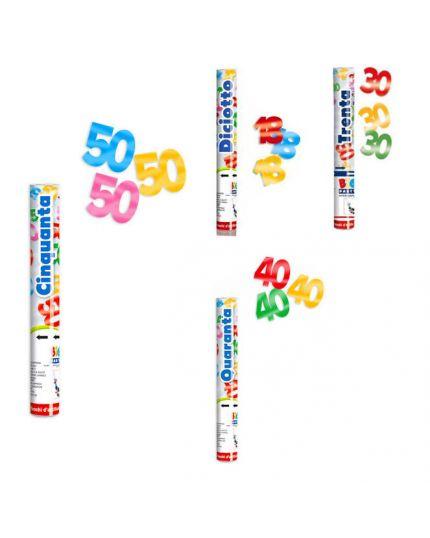 Tubo Sparacoriandoli Compleanno Numeri Multicolor Metal 30cm - 18, 30, 40, o 50 Anni