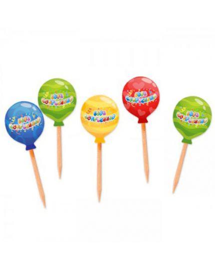 Stecchini Pick Buon Compleanno Balloon Multicolor 25pz