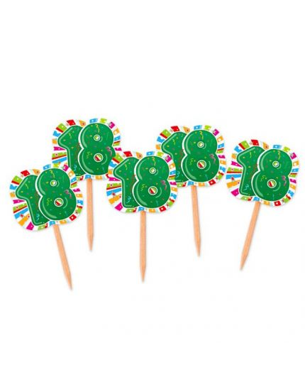 Stecchini Pick Compleanno 18 Anni Green Party