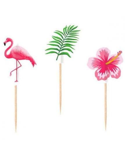 Stecchini Pick Flamingo Paradise Fenicotteri Rosa e Fiori