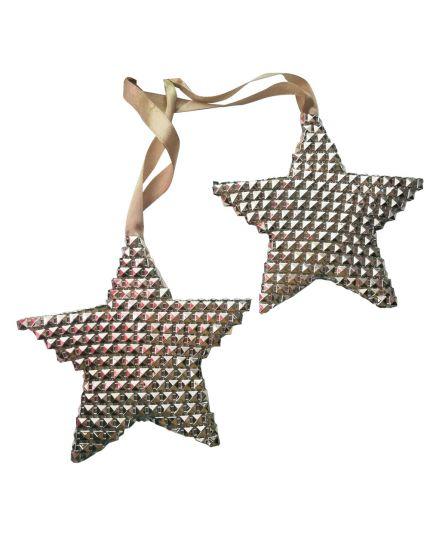Decorazioni per Albero Natale 2 Stelle con Borchie Avorio 11x11cm