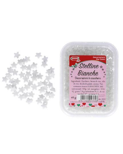 Decorazioni Zucchero Stelline Bianche Graziano 40gr 0,5cm