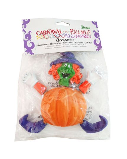Decorazione Halloween Strega Zucca Pvc da Appendere 18x19cm