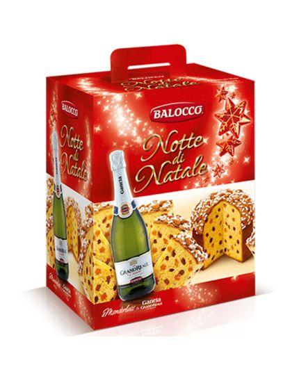 Strenna Natalizia Cesto Notte di Natale Balocco con Panettone e Spumante