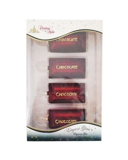 Decorazioni Vetro Tavolette di Cioccolato 7cm