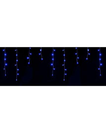 Tenda Sfalzata Nera con 144 Luci LED Blu 2,9 Metri