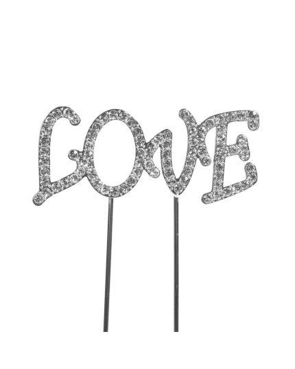 Cake Topper Scritta Love con Strass 15cm