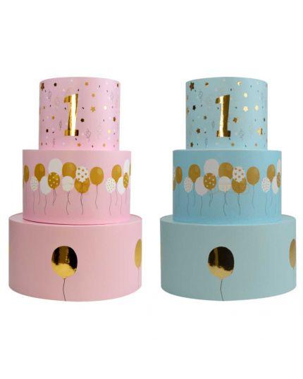 Torta Finta in Polistirolo Primo Compleanno 3 Piani per Dolci o Caramelle 36cm