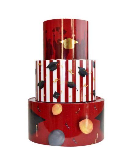 Torta Finta in Polistirolo Laurea 3 Piani per Dolci o Caramelle 36cm