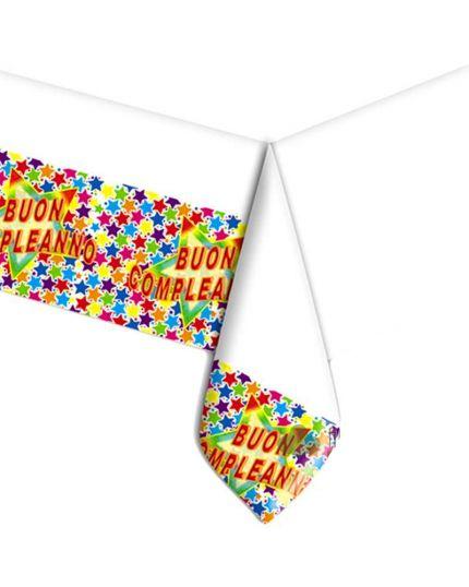 Tovaglia Pvc Buon Compleanno Stelle Multicolor