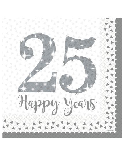 Tovaglioli Carta 25 Happy Years Argento