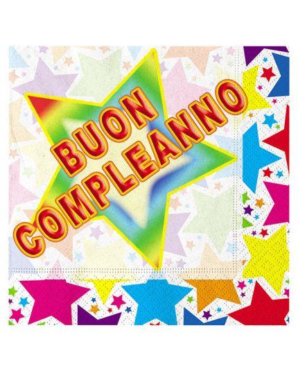 Tovaglioli Carta Buon Compleanno Stelle Multicolor