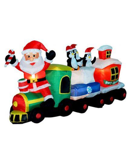 Trenino con Babbo Natale Gonfiabile con Luce 95cm
