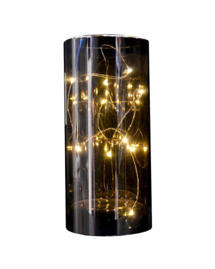 Cilindro Vetro Decorativo con Gocce LED 20cm