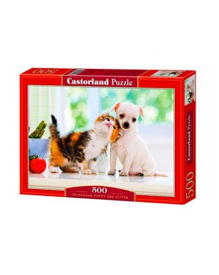 Puzzle Cuccioli Chihuahua E Gattino 500 Pezzi 47x33 Cm