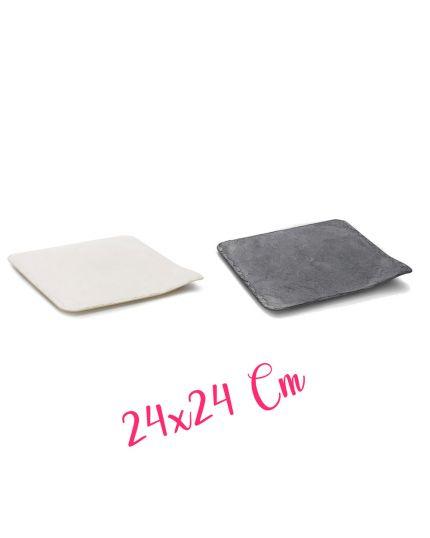 Vassoio Stone Pvc Colorato Effetto Pietra Quadrato 24x24cm