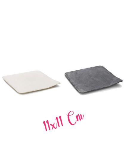 Piatto Vassoio Stone Pvc Colorato Effetto Pietra Quadrato Finger Food 11x11cm