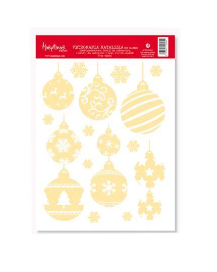 Decorazione Vetrofania Natalizia Palline Natale Oro Glitterate 42x30cm