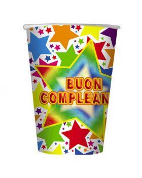 Bicchieri Carta Buon Compleanno Stelle Multicolor
