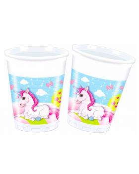 Bicchieri Plastica Unicorno Castello