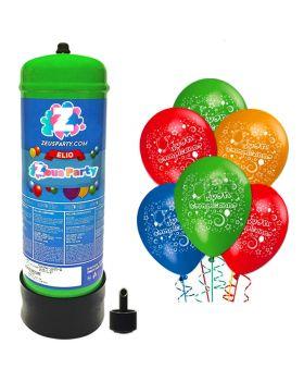Bombola Elio 2,2L con 25 Palloncini Buon Compleanno Multicolore