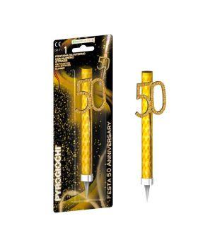 Candelina Magic Flambè 50 Anni con Strass