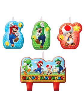 Candeline Sagomate Super Mario 4 Pezzi