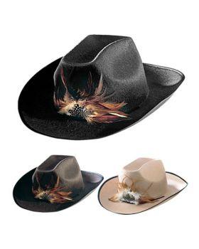 Cappello Cowboy Feltro Colorato con Piume