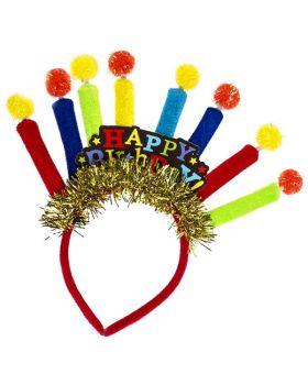 Cerchietto Happy Birthday Multicolor con Candeline Peluche