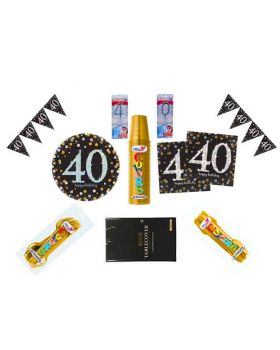 Kit Coordinato Tavola Compleanno 40 Anni con Candeline Stelline per 32 Persone