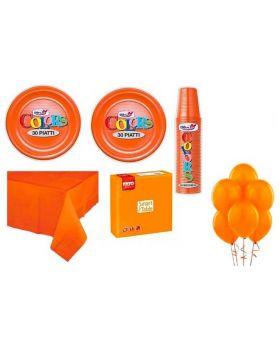 Kit Coordinato Tavola Tinta Unita Arancione con Palloncini per 30 Persone
